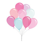 Colorful transparent balloons isolated on white. Vector