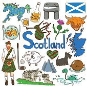 Fun colorful sketch collection of Scottish icons. Travel concept of Scotland symbols and association.