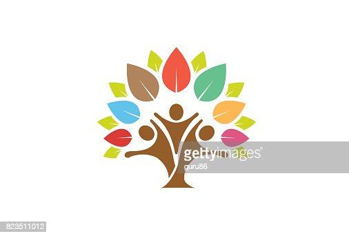 Arbre coloré symbole familiale Design : Clipart vectoriel