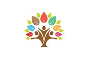 Colorful Tree Family Symbol Design Illustration