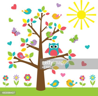 Colorful tree with cute owl and birds : Vector Art