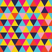 Geometric seamless pattern. Colorful triangle shape vibrant summer style background. EPS10 vector.