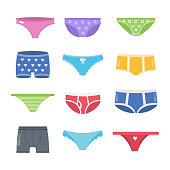 Colorful underpants set. Female and male pants.