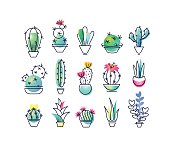 Colorful vector icons' set of indoor plants, cactuses. Isolated creative design nature objects. Halftone textured and monoline symbols' pack. No gradients.