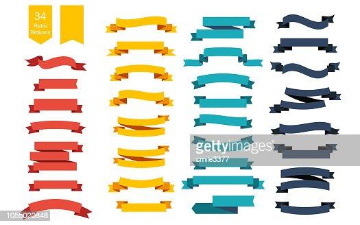 Colorful Vector Ribbon Banners. Set of 34 ribbons : stock vector