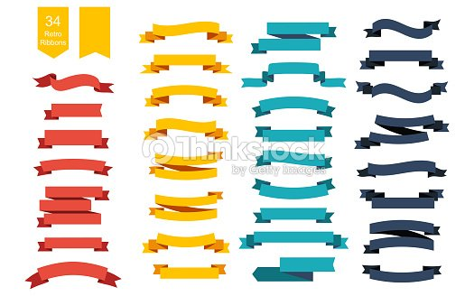 Colorful Vector Ribbon Banners. Set of 34 ribbons : stock vector