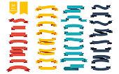Colorful Vector Ribbon Banners. Set of 34 ribbons. Eps10