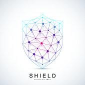 Colorful Vector Template Shield Icon. Protection Logo Icon. Creative Security Concept Design.