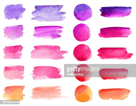Colorful vector watercolor brush strokes. Rainbow colors watercolor paint stains vector banner backgrounds set : Vector Art