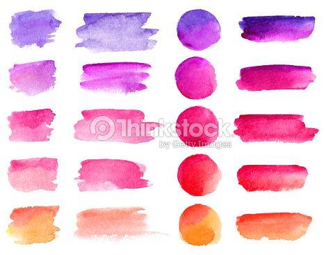 Coups de pinceau aquarelle vecteur coloré. Arc en ciel couleurs taches peinture aquarelle set vector d'arrière-plans bannière : clipart vectoriel