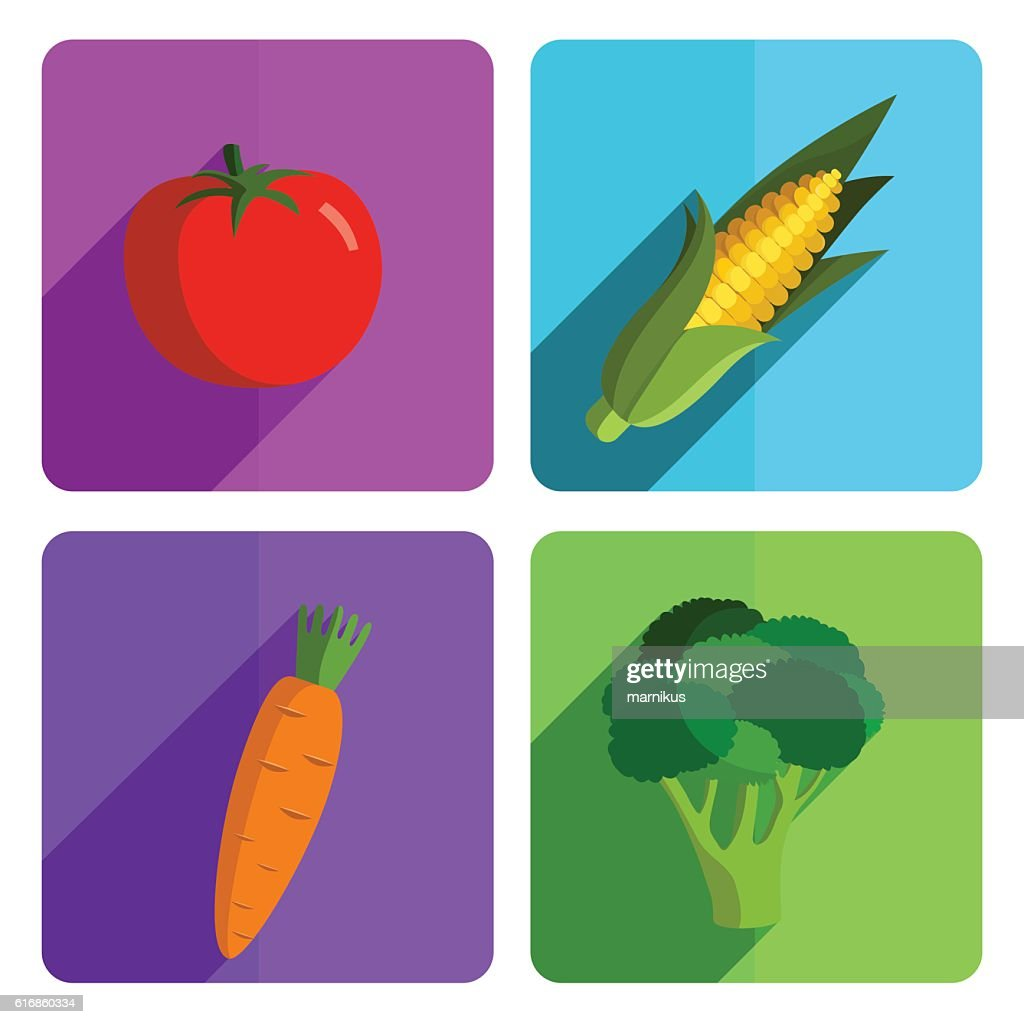 Colorful Vegetable Icon Set on Bright Background : Vector Art