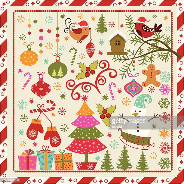 Colorful vintage style animated Christmas graphic