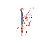 Colorful violoncello with music notes. Music background. Music instrument poster with music notes. Cello design with g-clef. Treble clef and music notes, musical symbols with violoncello