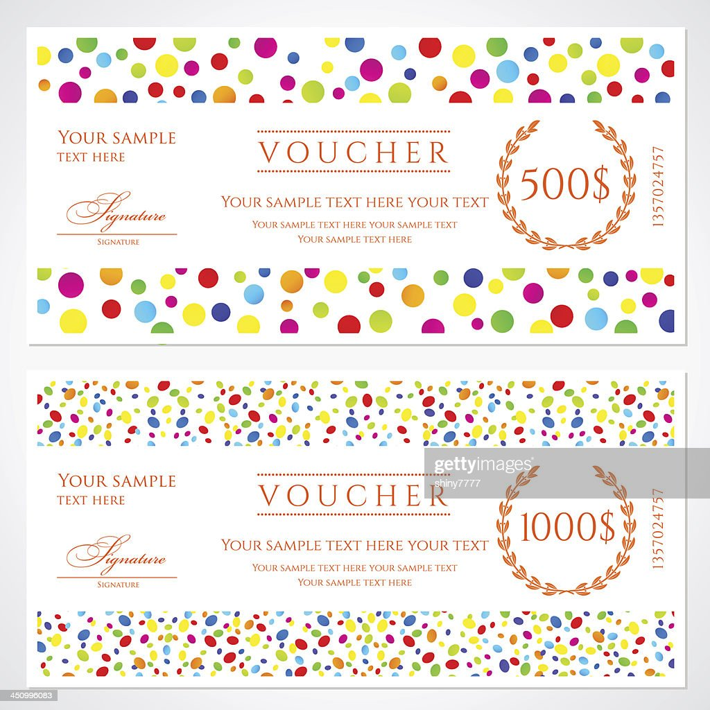 Colorful Voucher / Gift Certificate / Coupon Template Banknote, Money,  Currency, Cheque)  Money Coupon Template