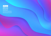 Colorful wave abstract background. Fluid gradient shapes composition modern design.