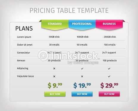 Colorful web pricing table template for business plan - Business plan for web design company ...
