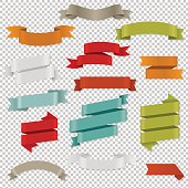 Colorful Web Ribbons Set. Vector Illustration EPS10. Contains transparency.