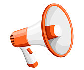 Colorful white megaphone. Bullhorn for amplifying the voice for protests rallies or public speaking. Vector illustration isolated on white background. Web site page and mobile app design.