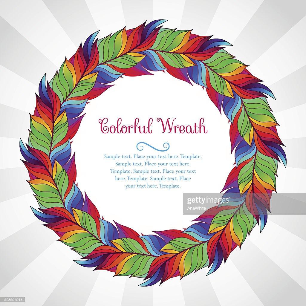 Coroa de penas coloridas do arco-íris : Arte vetorial