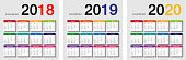 Colorful Year 2018 and Year 2019 and Year 2020 calendar horizontal vector design template, simple and clean design. Calendar for 2018 and 2019 on White Background for organization. Week Starts Monday.