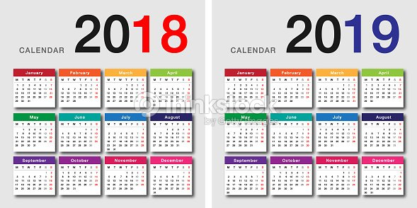 colorful year 2018 and year 2019 calendar horizontal vector design template vector art
