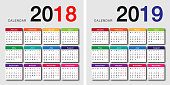 Colorful Year 2018 and Year 2019 calendar horizontal vector design template, simple and clean design. Calendar for 2018 and 2019 on White Background for organization and business. Week Starts Monday.