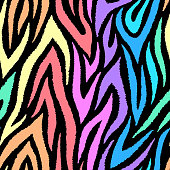 Colorful zebra seamless pattern. Neon rainbow lines isolated on black background. Repeating stripes backdrop. Vector print for fabrics, posters, banners.