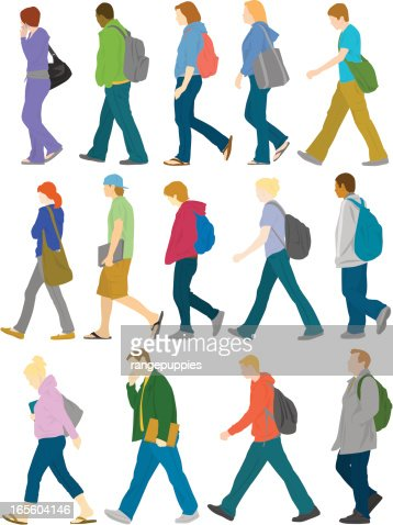 Colorfully Dressed Group Of College Students Walking Vector Art