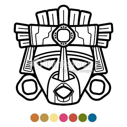 Azteca Para Colorear Máscara Africana Mexicana Arte vectorial ...