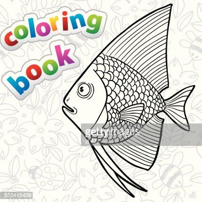 Coloring Book Angelfish Vector Art