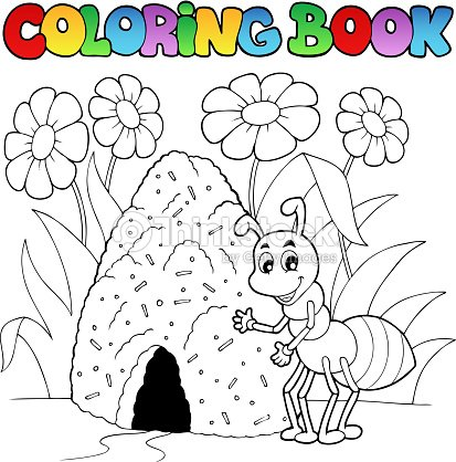 Libro Para Colorear Ant Cerca Hormiguero Arte vectorial | Thinkstock