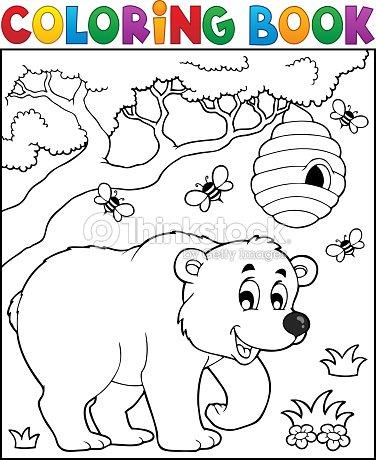 Libro Para Colorear Oso De Tema 3 Arte vectorial | Thinkstock