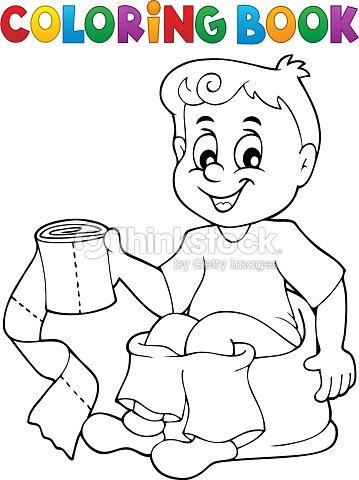 Libro Para Colorear Chico El Orinal De Niño Arte vectorial | Thinkstock