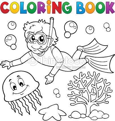 Buceo De Snorkel Para Colorear Libro Chico Arte vectorial | Thinkstock