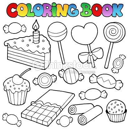 Coloriage Gateau Bonbon.Livre De Coloriage De Bonbons Et Gateaux Clipart Vectoriel Thinkstock