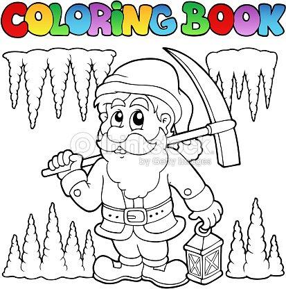 Livre De Coloriage Dessin Animé Mineur De Nain clipart vectoriel ...
