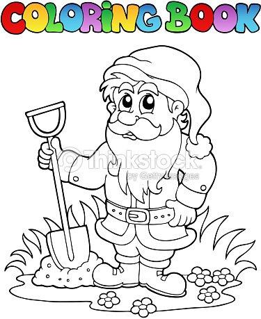 Livre De Coloriage Dessin Animé Nain De Jardin clipart vectoriel ...