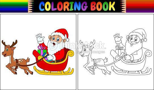 Libro Para Colorear De Dibujos Animados Santa Claus Su Trineo De ...