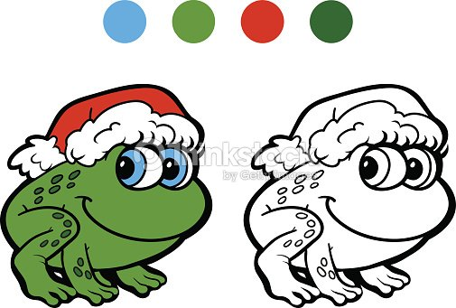 Libro Para Colorear Rana De Navidad Juegos Para Niños Arte vectorial ...