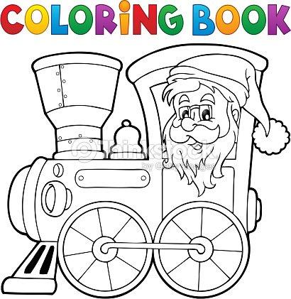 Libro Para Colorear Navidad Locomotora 1 Arte vectorial | Thinkstock