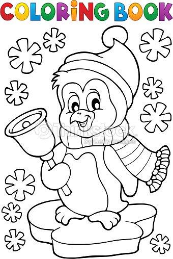 Pingüino De Navidad Para Colorear Libro Tema 1 Arte vectorial ...