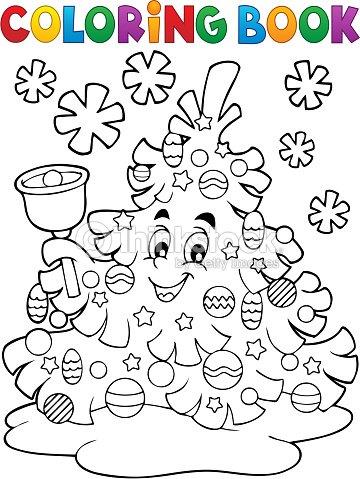 Libro Para Colorear árbol De Navidad Tema 2 Arte vectorial   Thinkstock