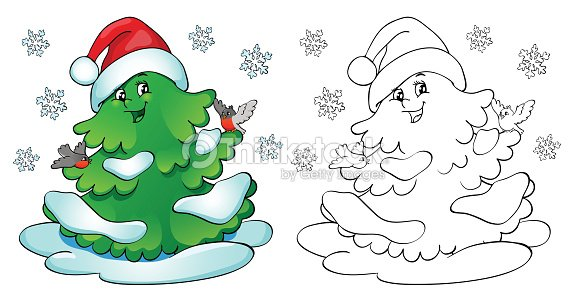 Coloring Book Christmas Tree With Bullfinches And Snowflakes Vector ...