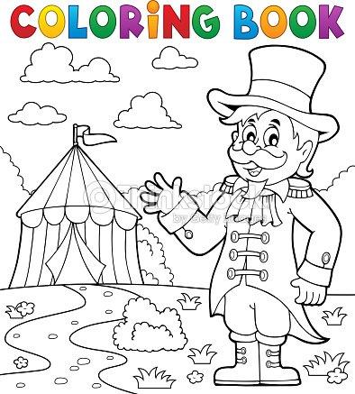 Libro Para Colorear Circo Director De Pista Tema 2 Arte vectorial ...