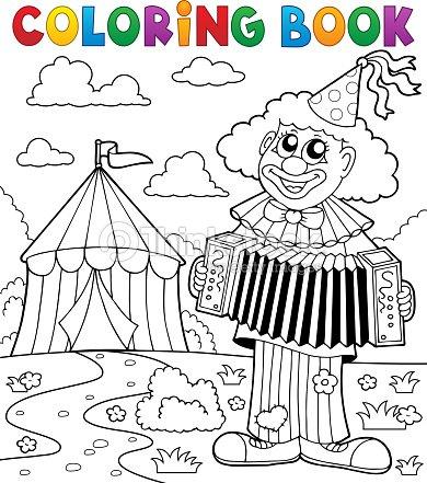 Libro Para Colorear Payaso Cerca De Circo Tema 4 Arte vectorial ...
