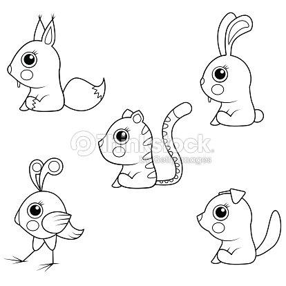 Libro Para Colorear Colección De Dibujos Animados De Animales Bebé ...