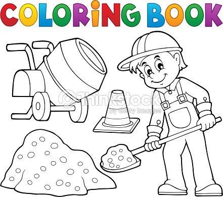 Coloring Book Construction Worker 2 Vector Art | Thinkstock