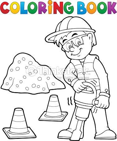 Libro Para Colorear Trabajador De Construcción 3 Arte vectorial ...
