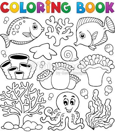 Libro Para Colorear Coral Reef Tema 2 Arte vectorial | Thinkstock