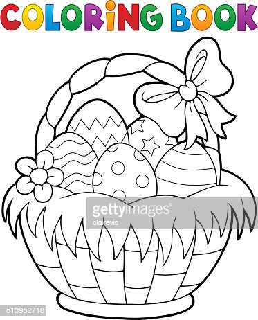 Coloring book easter basket theme 1 vector art